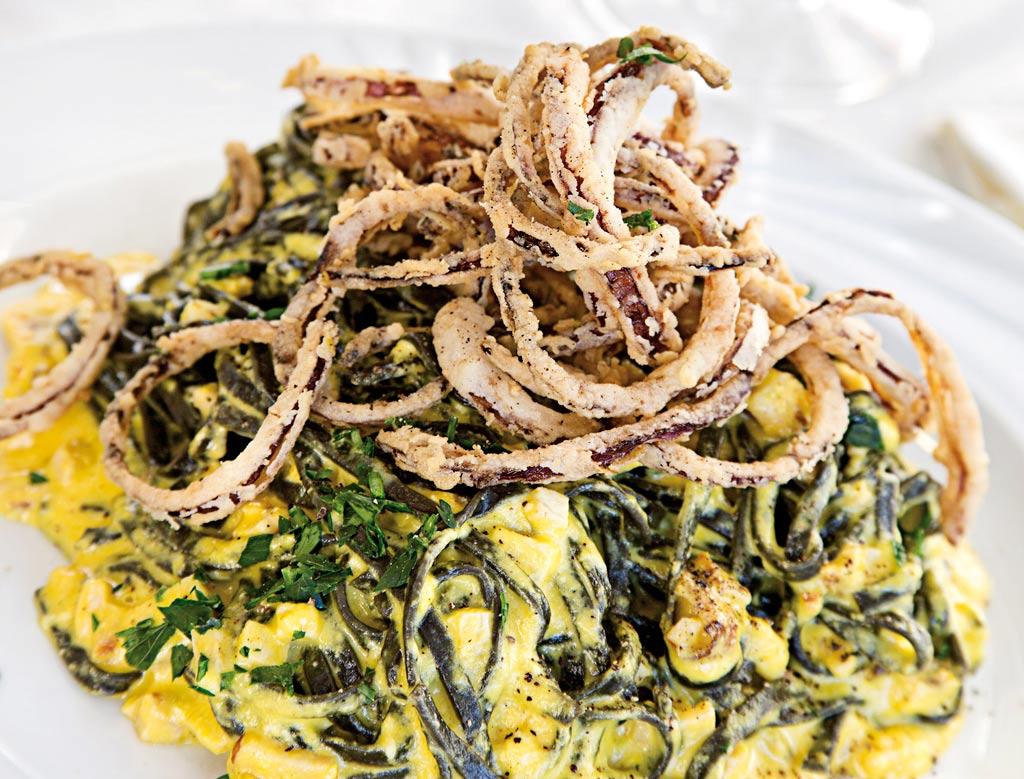 carbonara di pesce, primi di pesce, menu di pesce, ristoranti pesce riccione, da lele riccione
