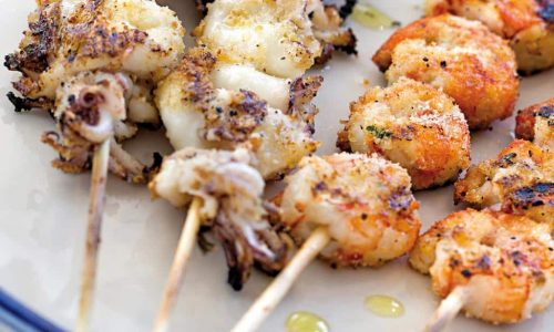 spiedini misti, menu di pesce, ristoranti pesce riccione, da lele riccione