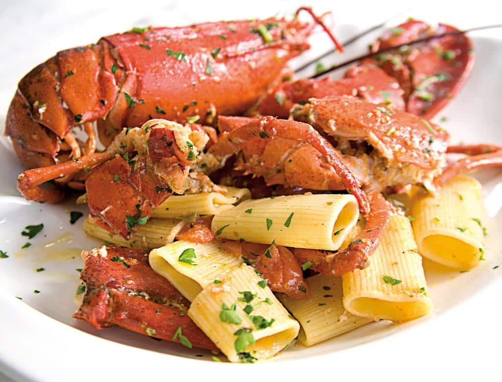 paccheri al grillo, primi di pesce, menu di pesce, ristoranti pesce riccione, da lele riccione